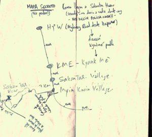 Mapa del camino a Sakandar, dibujado en parte por el anciano.